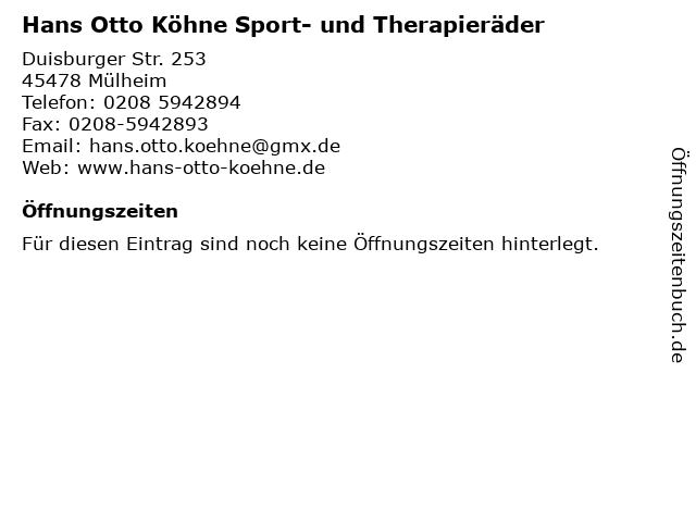 Hans Otto Köhne Sport- und Therapieräder in Mülheim: Adresse und Öffnungszeiten