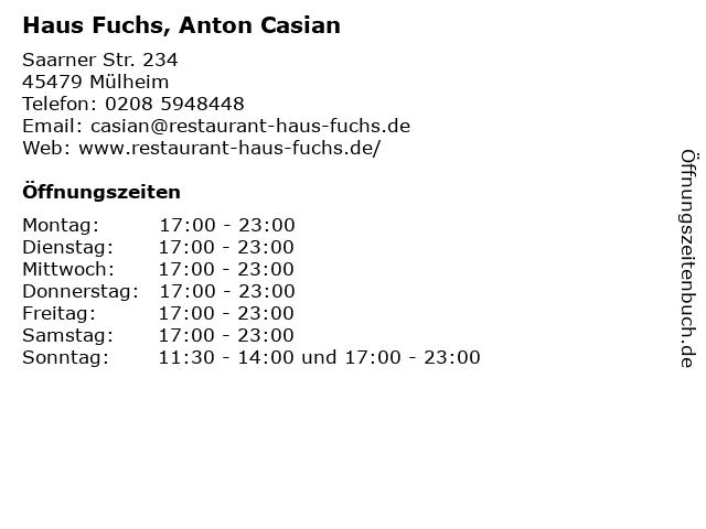 Haus Fuchs, Anton Casian in Mülheim: Adresse und Öffnungszeiten