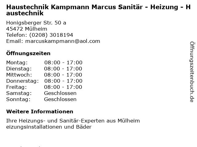 Haustechnik Kampmann Marcus Sanitär - Heizung - Haustechnik in Mülheim: Adresse und Öffnungszeiten