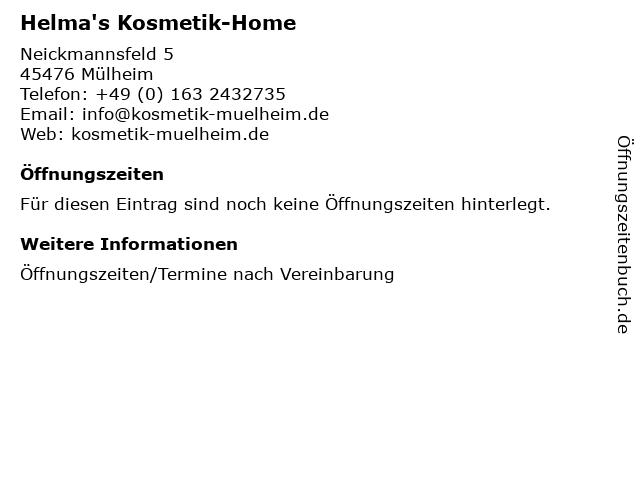 Helma's Kosmetik-Home in Mülheim: Adresse und Öffnungszeiten