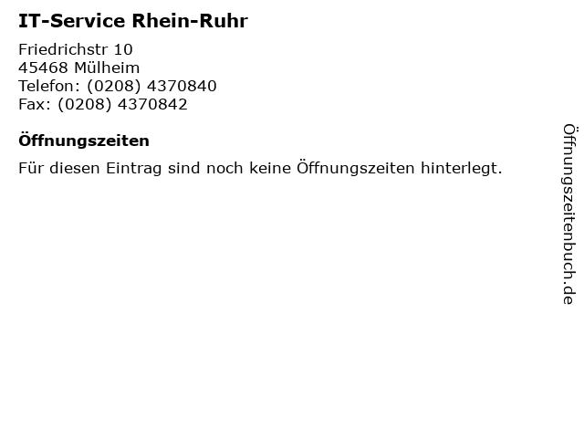 IT-Service Rhein-Ruhr in Mülheim: Adresse und Öffnungszeiten