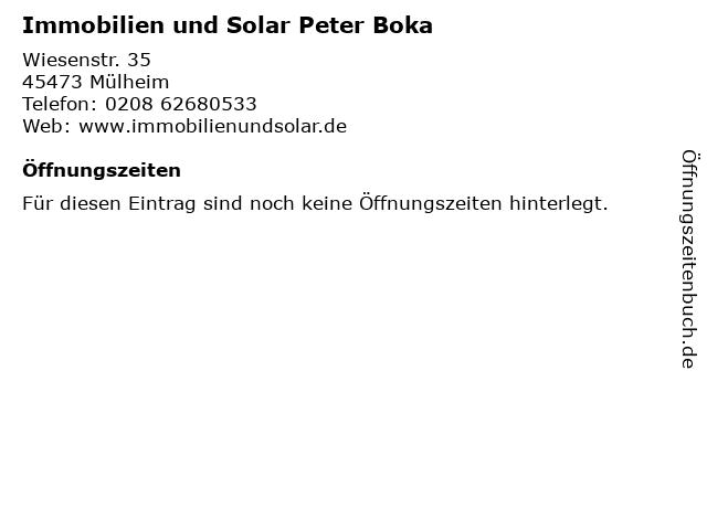 Immobilien und Solar Peter Boka in Mülheim: Adresse und Öffnungszeiten