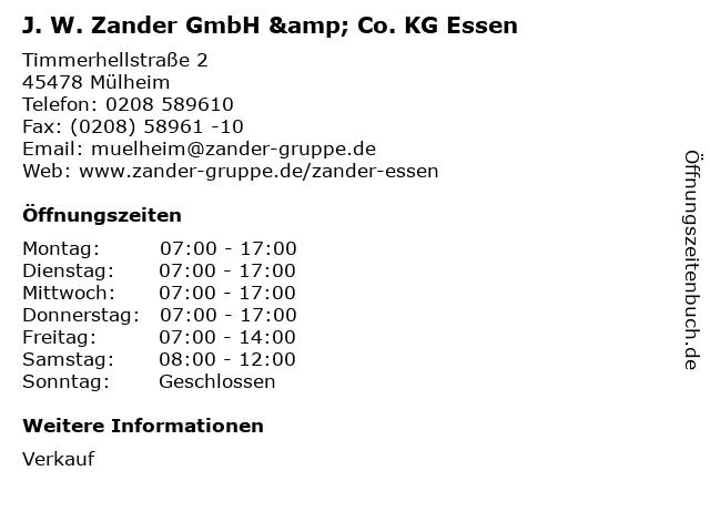 J. W. Zander GmbH & Co. KG Essen in Mülheim: Adresse und Öffnungszeiten
