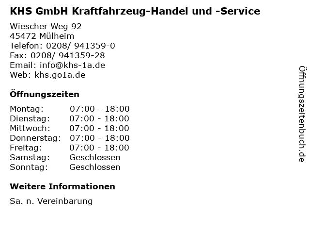 KHS GmbH Kraftfahrzeug-Handel und -Service in Mülheim: Adresse und Öffnungszeiten