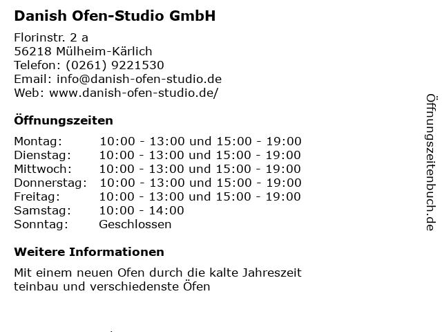 Danish Ofen-Studio GmbH in Mülheim-Kärlich: Adresse und Öffnungszeiten