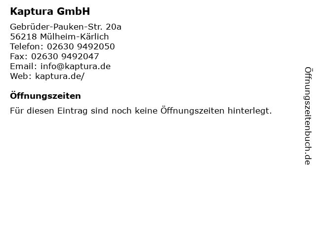 Kaptura GmbH in Mülheim-Kärlich: Adresse und Öffnungszeiten