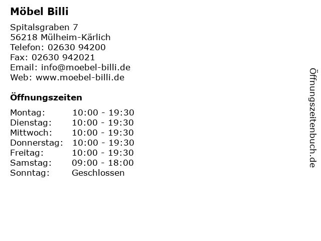 ᐅ öffnungszeiten Möbel Billi Spitalsgraben 7 In Mülheim Kärlich