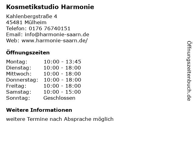 Kosmetikstudio Harmonie in Mülheim: Adresse und Öffnungszeiten
