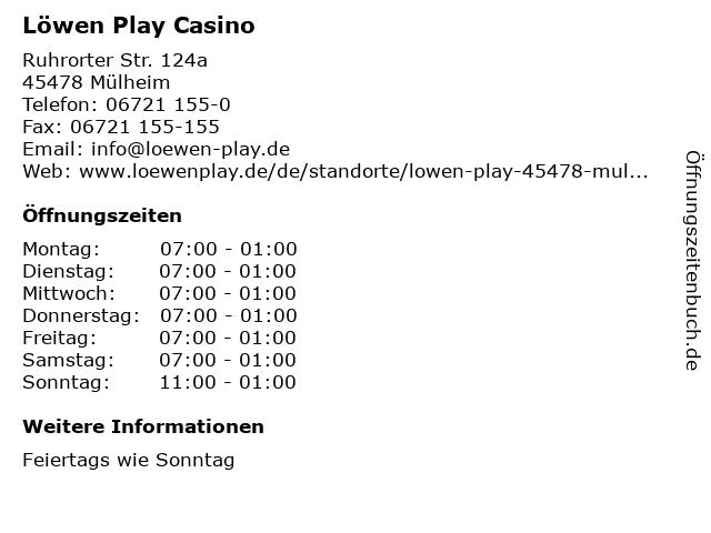 Löwen Play Casino in Mülheim: Adresse und Öffnungszeiten