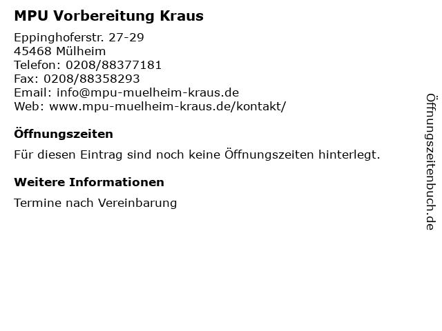 MPU Vorbereitung Kraus in Mülheim: Adresse und Öffnungszeiten
