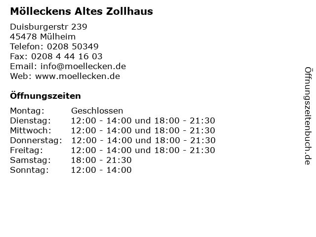 Mölleckens Altes Zollhaus in Mülheim: Adresse und Öffnungszeiten