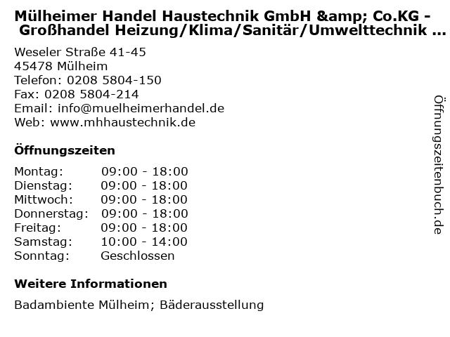 Mülheimer Handel Haustechnik GmbH & Co.KG - Großhandel Heizung/Klima/Sanitär/Umwelttechnik - Badambiente in Mülheim: Adresse und Öffnungszeiten