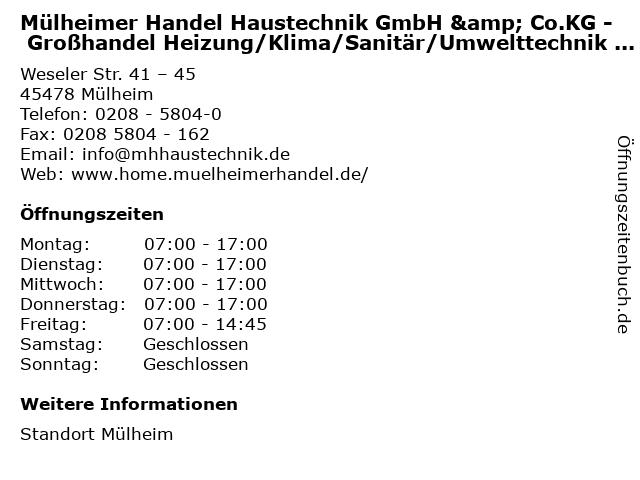 Mülheimer Handel Haustechnik GmbH & Co.KG - Großhandel Heizung/Klima/Sanitär/Umwelttechnik - Fachcenter in Mülheim: Adresse und Öffnungszeiten
