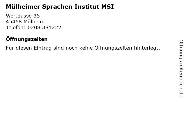 Mülheimer Sprachen Institut MSI in Mülheim: Adresse und Öffnungszeiten