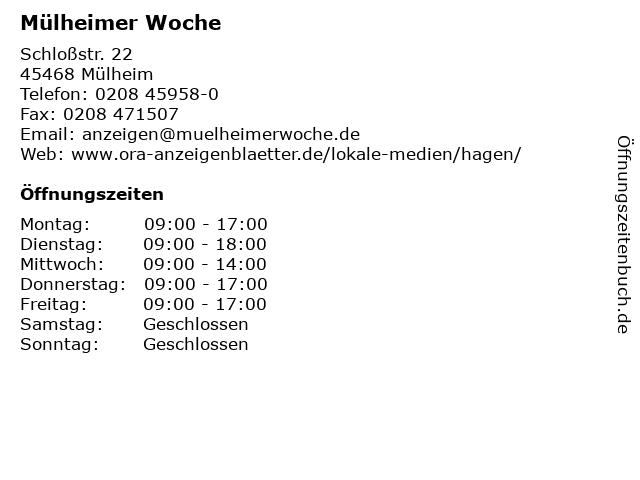 Mülheimer Woche in Mülheim: Adresse und Öffnungszeiten