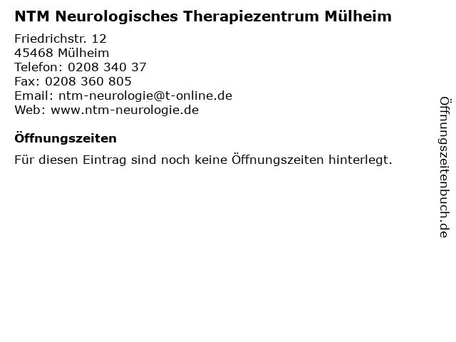 NTM Neurologisches Therapiezentrum Mülheim in Mülheim: Adresse und Öffnungszeiten
