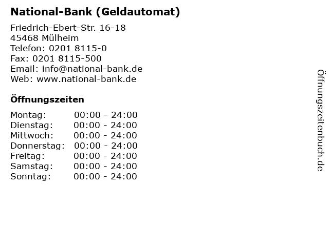 National-Bank (Geldautomat) in Mülheim: Adresse und Öffnungszeiten