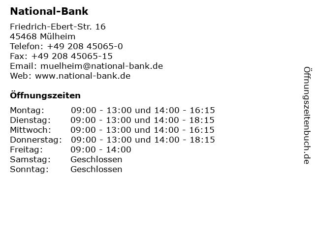 National-Bank in Mülheim: Adresse und Öffnungszeiten