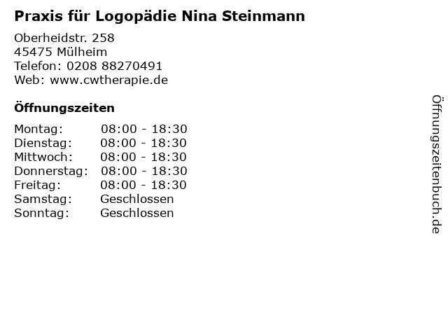 Praxis für Logopädie Nina Steinmann in Mülheim: Adresse und Öffnungszeiten