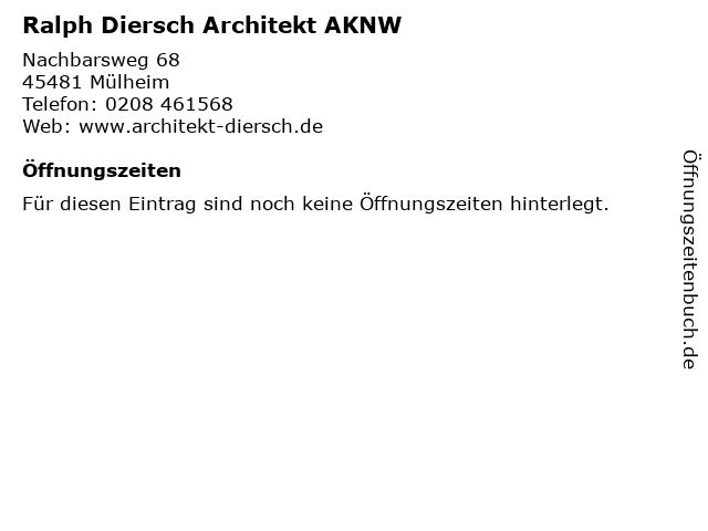 Ralph Diersch Architekt AKNW in Mülheim: Adresse und Öffnungszeiten