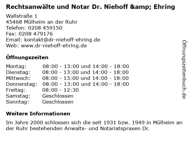 Rechtsanwälte Dr. Niehoff, Kämpgen, Troost, Aretz, Häbel in Mülheim: Adresse und Öffnungszeiten