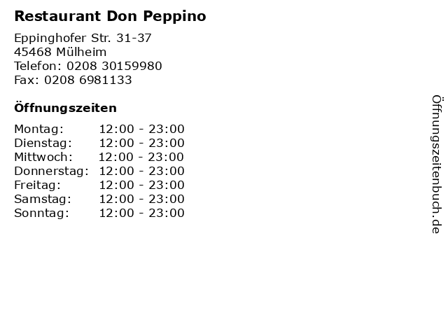 Restaurant Don Peppino in Mülheim: Adresse und Öffnungszeiten