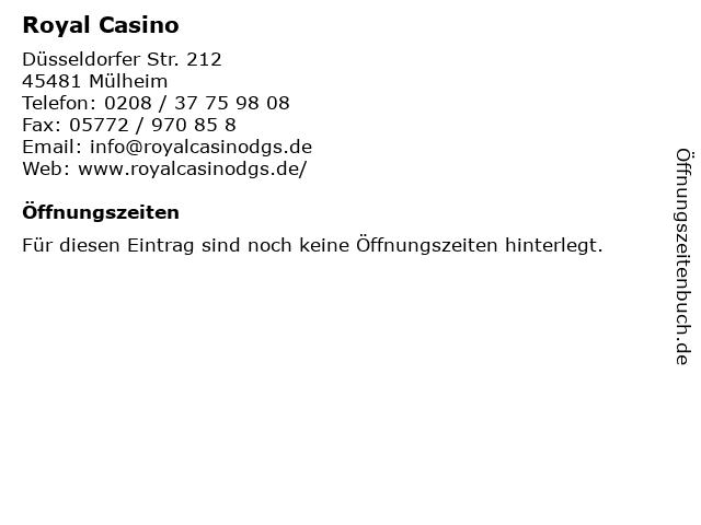 Royal Casino in Mülheim: Adresse und Öffnungszeiten