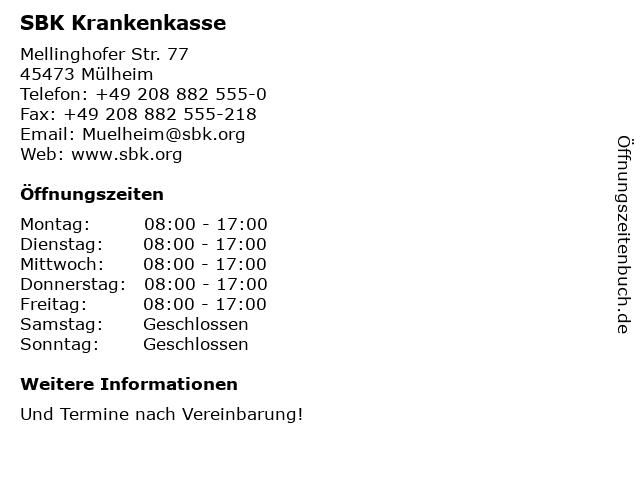 SBK Krankenkasse in Mülheim: Adresse und Öffnungszeiten