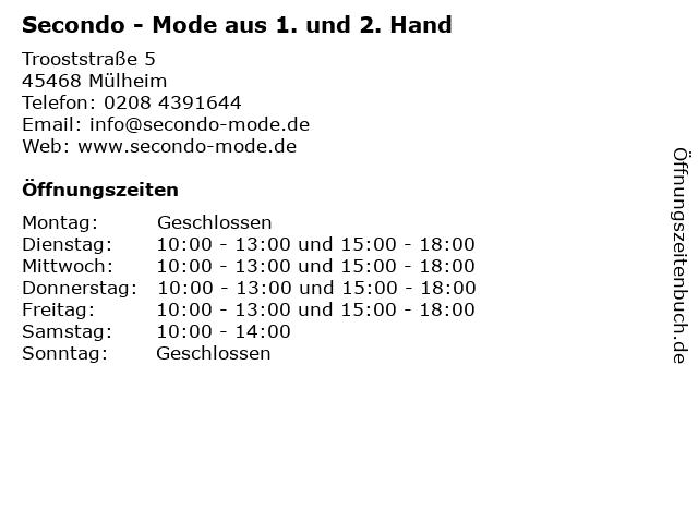 Secondo - Mode aus 1. und 2. Hand in Mülheim: Adresse und Öffnungszeiten