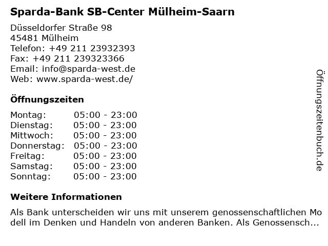 Sparda-Bank SB-Center Mülheim-Saarn in Mülheim: Adresse und Öffnungszeiten