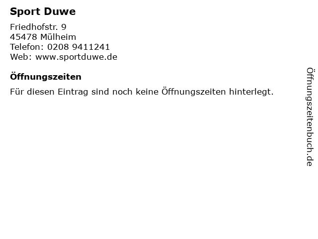 Sport Duwe in Mülheim: Adresse und Öffnungszeiten