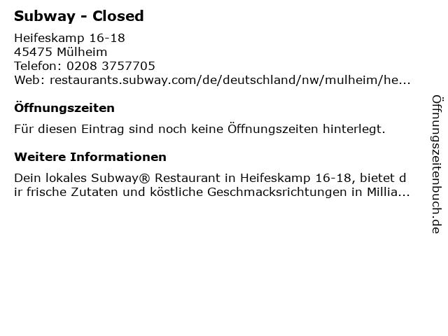 Subway in Mülheim: Adresse und Öffnungszeiten