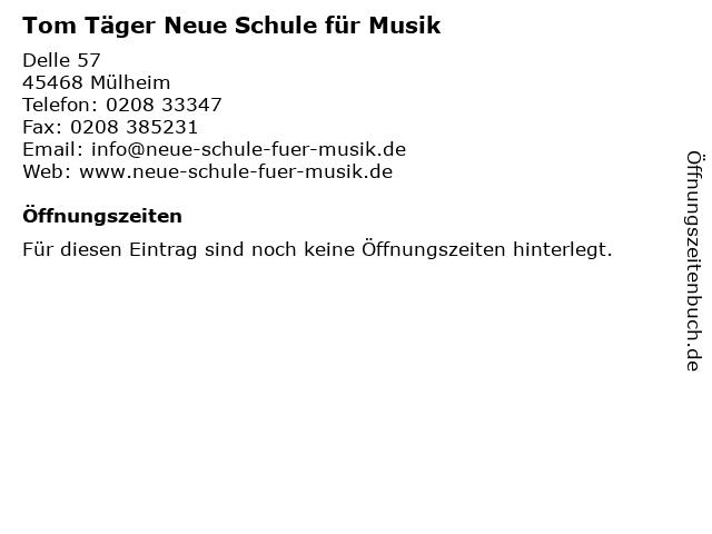Tom Täger Neue Schule für Musik in Mülheim: Adresse und Öffnungszeiten