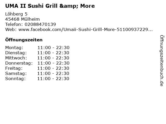 UMA II Sushi Grill & More in Mülheim: Adresse und Öffnungszeiten