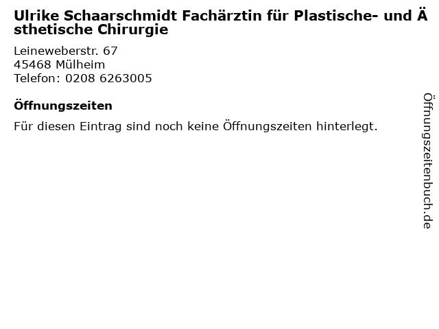 Ulrike Schaarschmidt Fachärztin für Plastische- und Ästhetische Chirurgie in Mülheim: Adresse und Öffnungszeiten