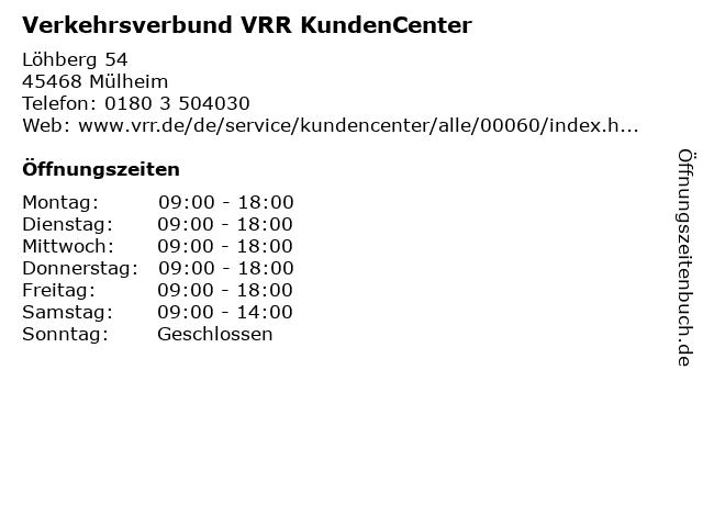 Verkehrsverbund VRR KundenCenter in Mülheim: Adresse und Öffnungszeiten