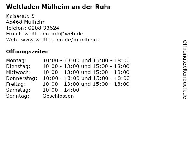 Weltladen Mülheim an der Ruhr in Mülheim: Adresse und Öffnungszeiten