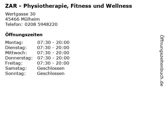 ZAR - Physiotherapie, Fitness und Wellness in Mülheim: Adresse und Öffnungszeiten