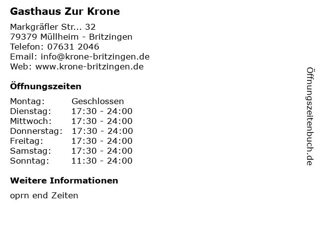 Gasthaus Zur Krone in Müllheim - Britzingen: Adresse und Öffnungszeiten