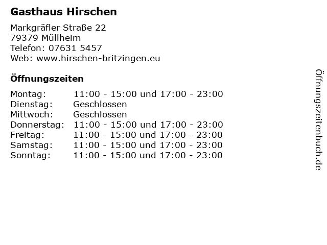 Gasthaus Hirschen in Müllheim: Adresse und Öffnungszeiten