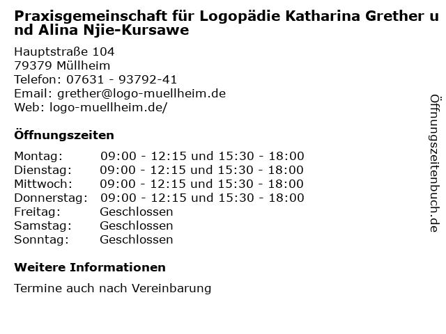 Praxisgemeinschaft für Logopädie Katharina Grether und Alina Njie-Kursawe in Müllheim: Adresse und Öffnungszeiten