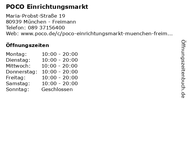 ᐅ öffnungszeiten Poco Maria Probst Straße 19 In München Freimann