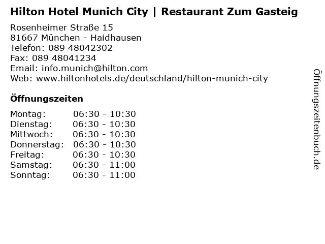 Hilton Hotel Munich City | Restaurant Zum Gasteig in München - Haidhausen: Adresse und Öffnungszeiten