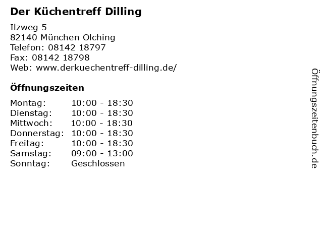 ᐅ Offnungszeiten Der Kuchentreff Dilling Ilzweg 5 In Munchen Olching