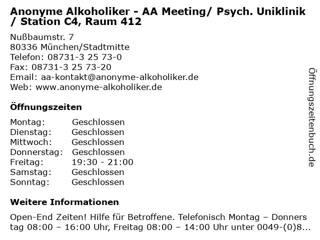Anonyme Alkoholiker - AA Meeting/ Psych. Uniklinik/ Station C4, Raum 412 in München/Stadtmitte: Adresse und Öffnungszeiten