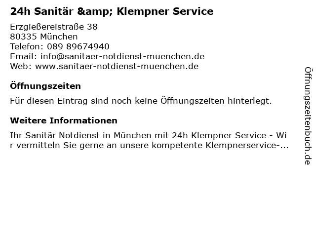 24h Sanitär & Klempner Service in München: Adresse und Öffnungszeiten