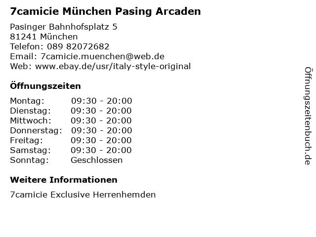 7camicie München Pasing Arcaden in München: Adresse und Öffnungszeiten