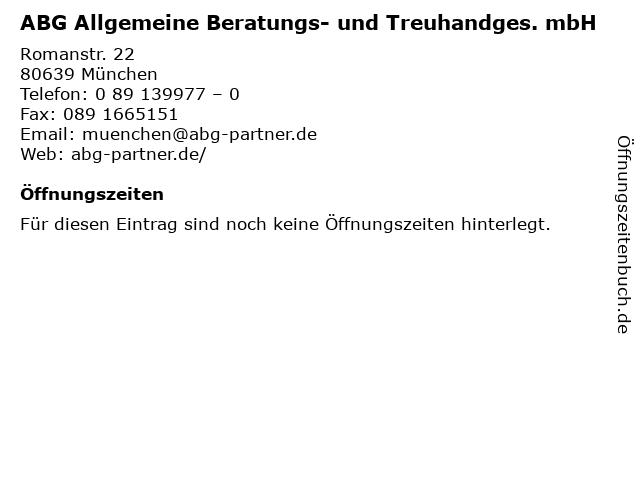 ABG Allgemeine Beratungs- und Treuhandges. mbH in München: Adresse und Öffnungszeiten