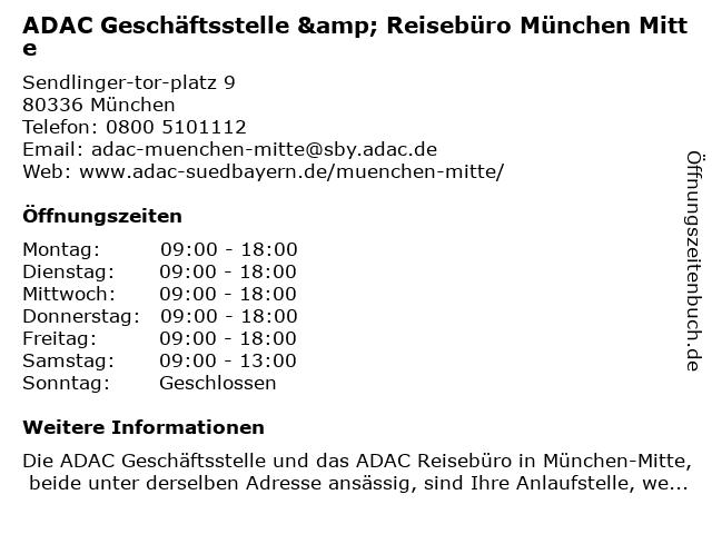 ADAC Geschäftsstelle & Reisebüro München Mitte in München: Adresse und Öffnungszeiten