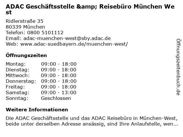 ADAC Geschäftsstelle & Reisebüro München West in München: Adresse und Öffnungszeiten